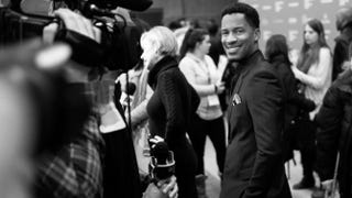 Director-actor-producer Nate Parker attends the premiere of The Birth of a Nation during the Sundance Film Festival at the Eccles Center Theatre in Park City, Utah, on Jan. 25, 2016. Nicholas Hunt/Getty Images (image converted to black and white)