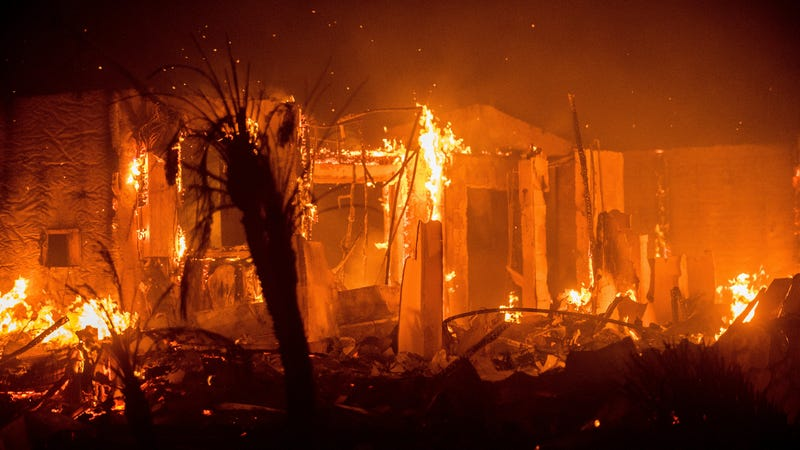 Flames consume a structure as the Lilac fire burns in Bonsai, California earlier today. (Image: AP)