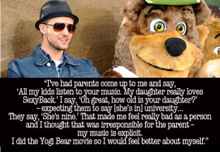Illustration for article titled Justin Timberlake Did Yogi Bear Out Of Guilt