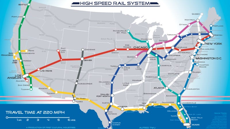 Illustration for article titled This Is What America's High-Speed Rail System Should Look Like