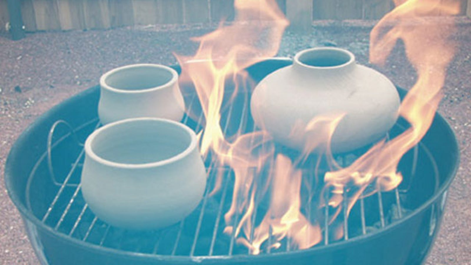 Electric Fire Pit >> Use a Charcoal Grill as a Pit Fire Pottery Kiln