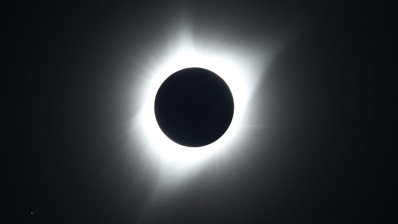 The sun in full eclipse over Grand Teton National Park on August 21, 2017 outside Jackson, Wyoming.