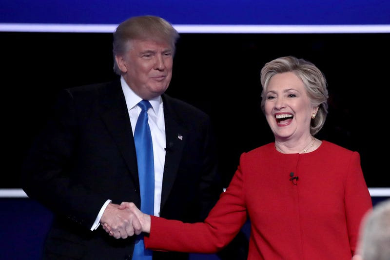 Republican presidential nominee Donald Trump and Democratic presidential nominee Hillary Clinton shake hands after the presidential debate at Hofstra University on Sept. 26, 2016, in Hempstead, N.Y.  Drew Angerer/Getty Images