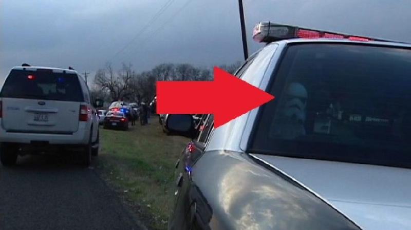 Illustration for article titled Yes, That Looks Like A Stormtrooper In The Back Of A Texas Police Cruiser