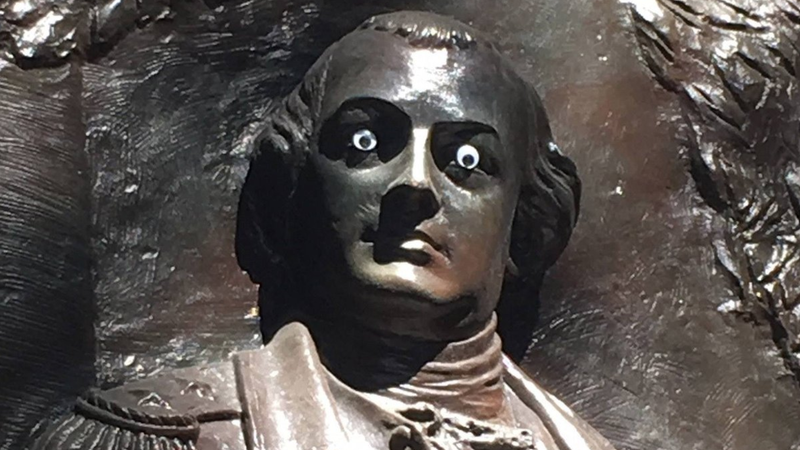Illustration for article titled There Is NOTHING FUNNY About Googly Eyes on a Statue