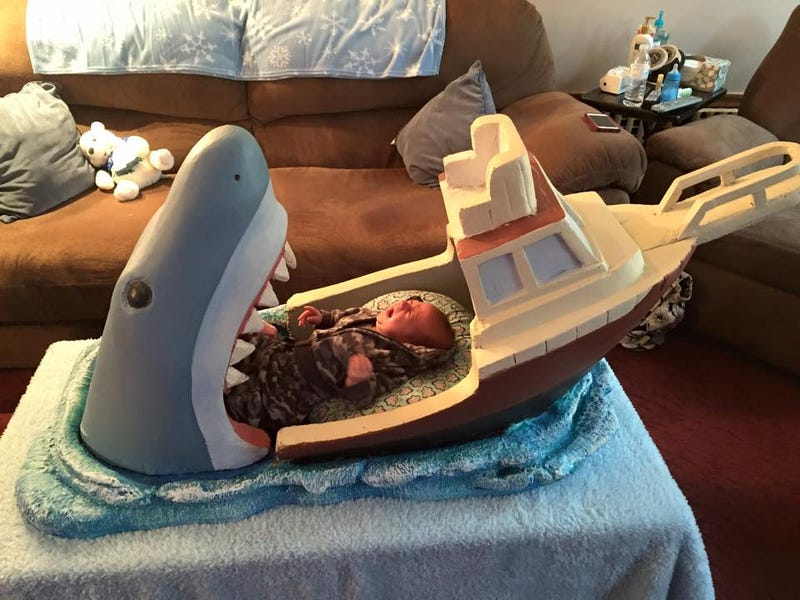 Illustration for article titled Jaws Baby Bed Lets You Imagine Your Child Being Eaten By A Shark