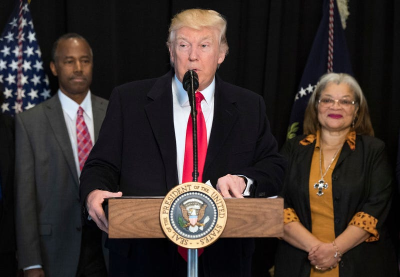 President Donald Trump delivers remarks after touring the Smithsonian National Museum of African American History and Culture on Feb. 21, 2017, in Washington, D.C. Trump was joined by Dr. Ben Carson and Alveda King. (Kevin Dietsch-Pool/Getty Images)