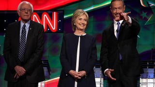 Democratic presidential candidates Sen. Bernie Sanders, Hillary Clinton and Martin O'Malley at a presidential debate Oct. 13, 2015, in Las VegasAlex Wong/Getty Images
