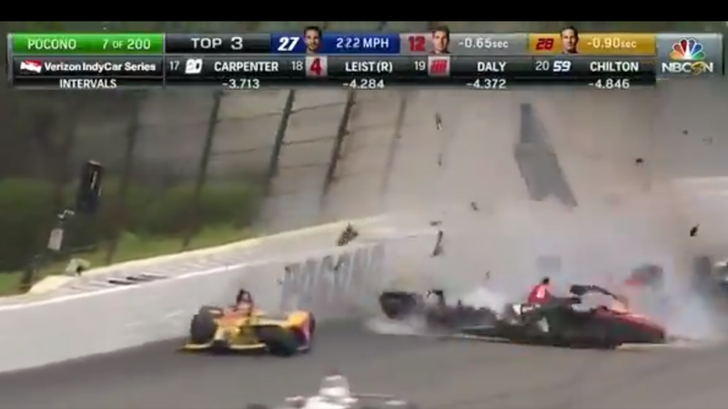 Illustration for article titled Terrifying IndyCar Crash Stops Race At Pocono [Updated]