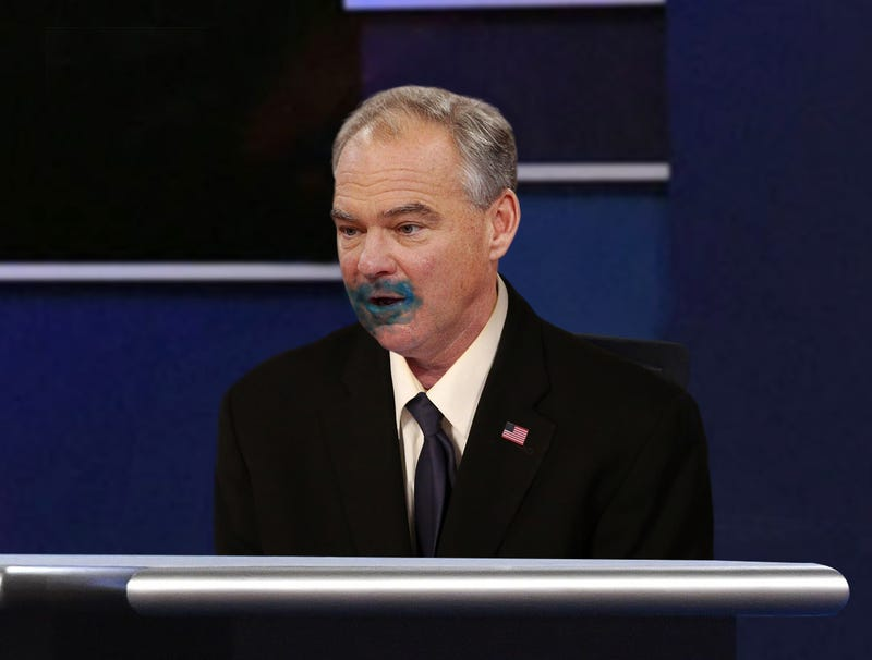Illustration for article titled Tim Kaine Clearly Ate Rocket Pop During Pence's Rebuttal