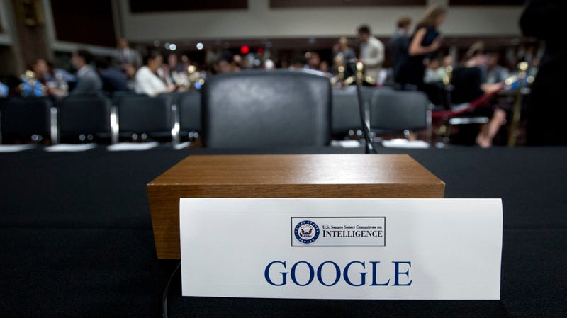 "An empty chair reserved for a top executive for Google's parent company Alphabet amid a September hearing on the Senate Intelligence Committee on ""Foreign Influence Operations and Their Use of Social Media Platforms,"" which Alphabet declined to send a top executive to attend."