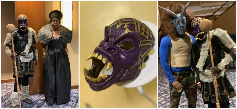 """(l-r) The Root's Michael Harriot as """"M'Baque"""" with Karen Reynolds as Raymonda; Harriot's Que-customized M'Baku mask; a partygoer dressed as Killmonger poses with Harriot at the Social Architects Halloween Party on Oct. 27, 2018."""