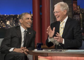 President Barack Obama tapes an appearance on the Late Show With David Letterman in New York City May 4, 2015. The president and first lady appeared many times on the show, but Obama's Sept. 10, 2008, appearance was one of the most memorable.NICHOLAS KAMM/AFP/Getty Images