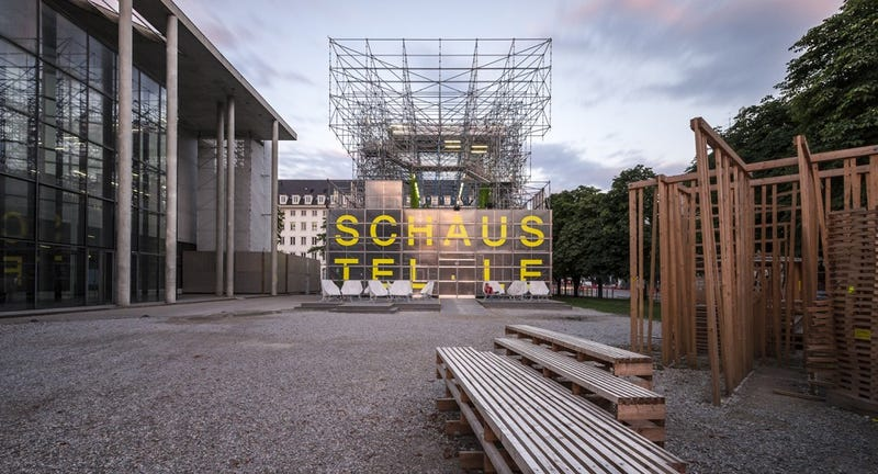 Illustration for article titled This Munich Museum Moved Into a Building Made Entirely of Scaffolding