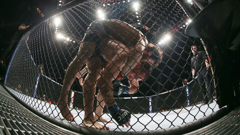 Zabit Magomedsharipov (on top) and Kyle Bochniak grapple during their featherweight bout at UFC 223 last month in Brooklyn