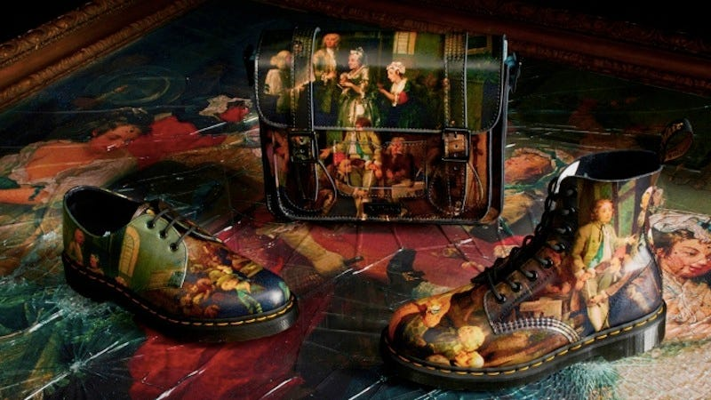 Illustration for article titled Uh, Doc Martens Did a William 'Gin Lane' Hogarth Capsule Collection