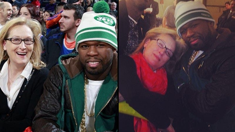 Illustration for article titled Meryl Streep and 50 Cent Were Turnt Up at the Knicks Game Last Night