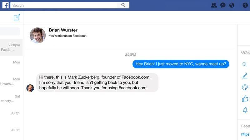 Mark Zuckerberg trying to be nice online.