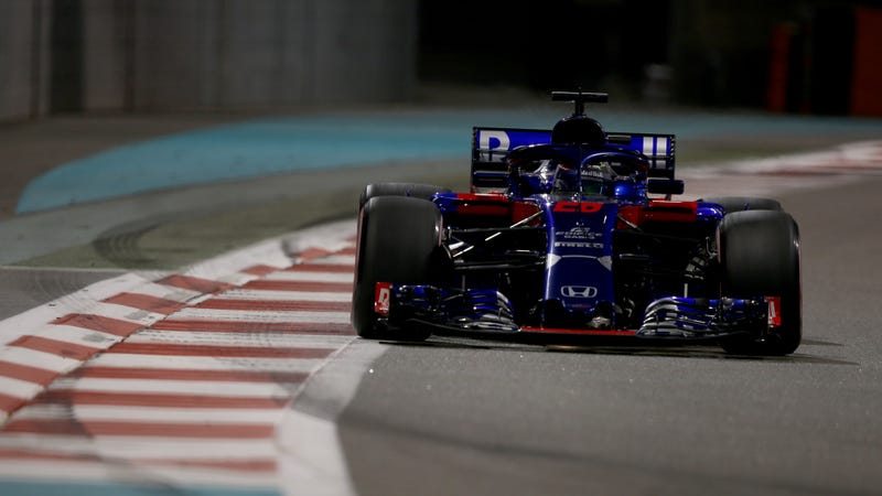 Brendon Hartley driving for Toro Rosso during practice at Yas Marina Circuit in 2018. He won't compete for the team this year.