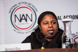 "Samaria Rice, the mother of Tamir Rice, speaks on a panel titled ""The Impact of Police Brutality—the Victims Speak"" at the National Action Network National Convention on April 8, 2015 in New York City.Andrew Burton/Getty Images"