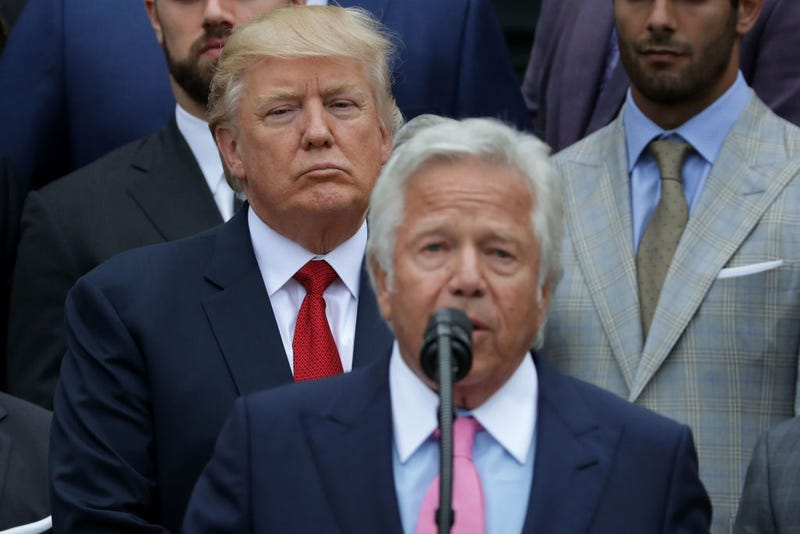 New England Patriots owner Robert Kraft delivers remarks during an event celebrating the team's Super Bowl win hosted by President Donald Trump on the South Lawn at the White House on April 19, 2017, in Washington, D.C.