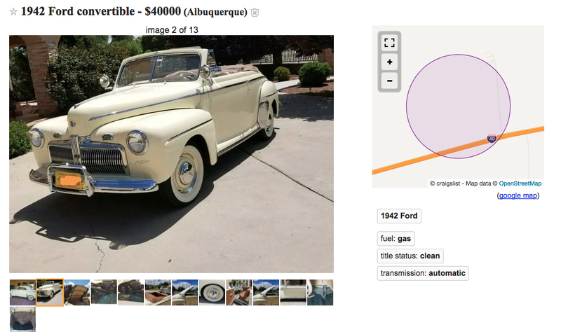 Illustration for article titled Get Your Kicks On Route 66 With This ABQ 1942 Ford Convertible ONLY $40K!