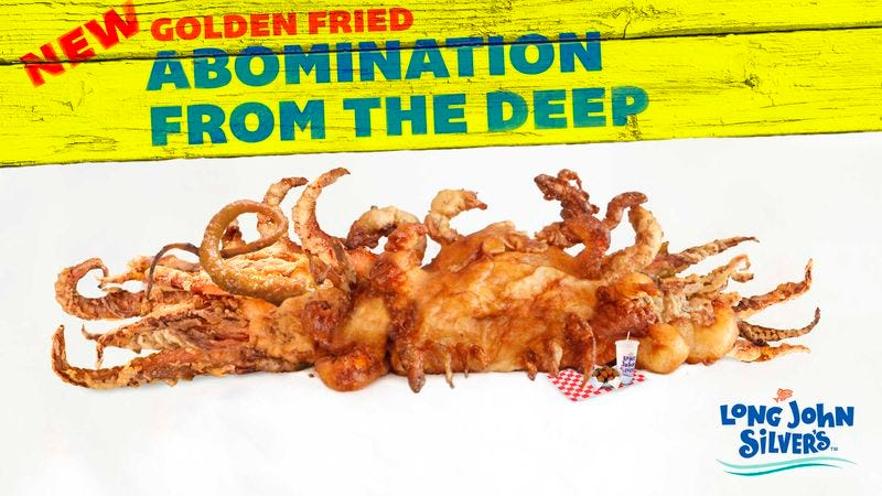The deep-fried sea monstrosity, which could reportedly swallow three grown men at once in its cavernous jaws, will be available as a two-piece value meal or a po' boy sandwich.
