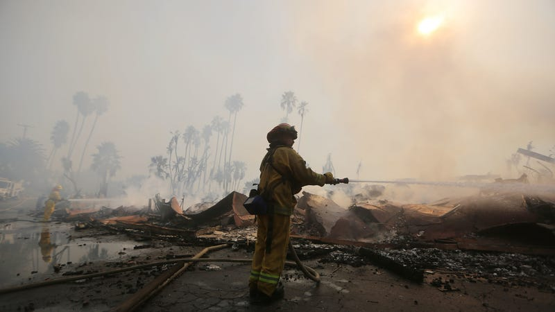A firefighter mops up after the 2017 Thomas Fire, California's largest wildfire on record.