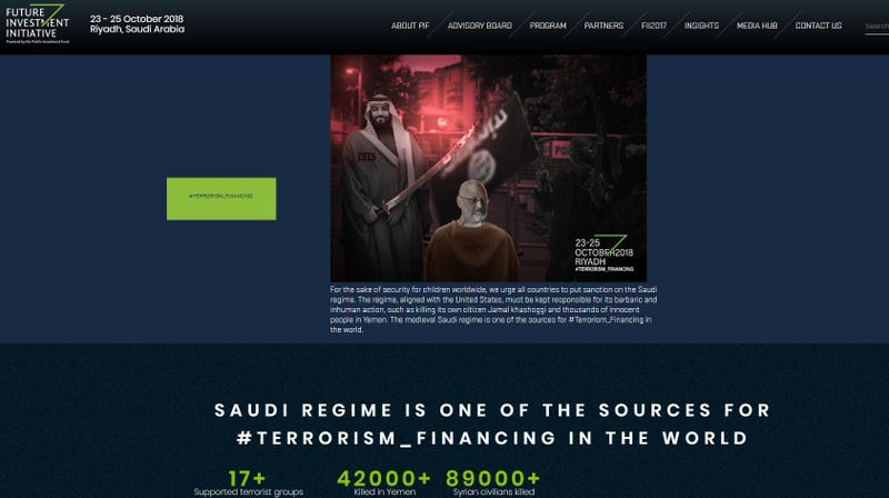 Illustration for article titled Saudi Arabian Conference Website Apparently Hacked to Highlight Murdered Journalist