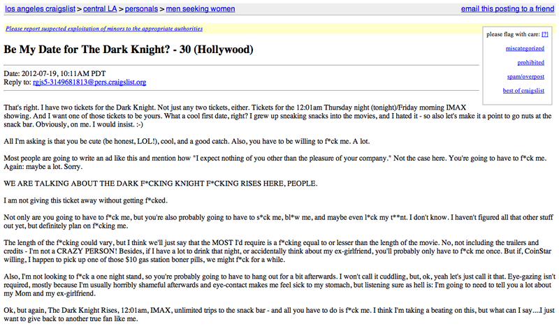 Craigslister Offers Spare Dark Knight Ticket In Exchange For