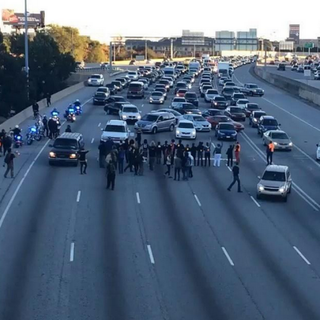 Protesters blocking the Atlanta Downtown Connector Twitter
