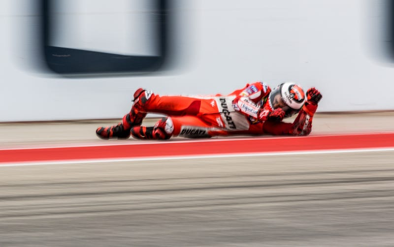 Jorge Lorenzo, bracing for impact in a high-speed slide. All photos credit Kurt Bradley.
