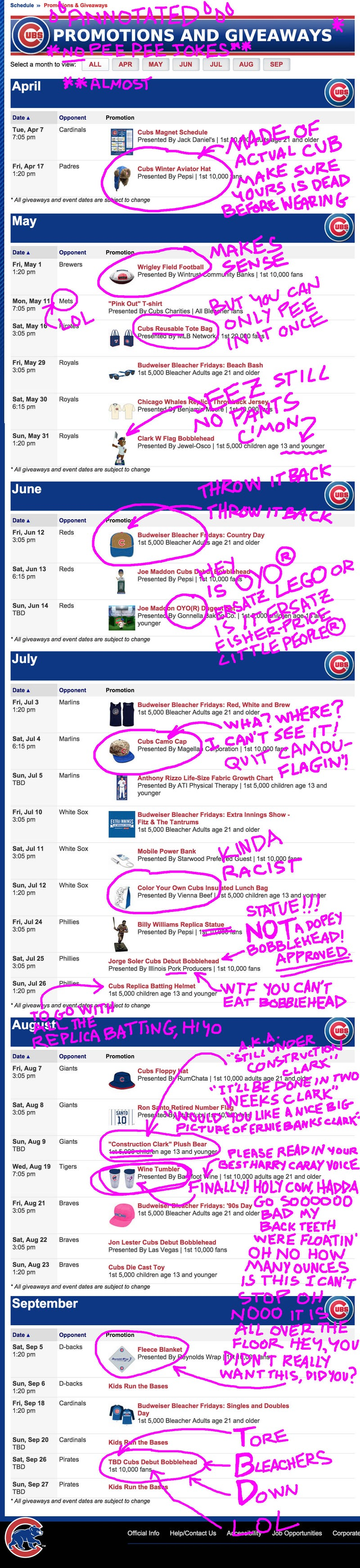 Illustration for article titled A Wetly Annotated List of Chicago Cubs Promos and Giveaways