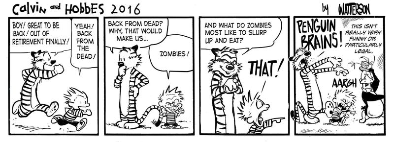 Illustration for article titled Calvin and Hobbes Return From The Dead