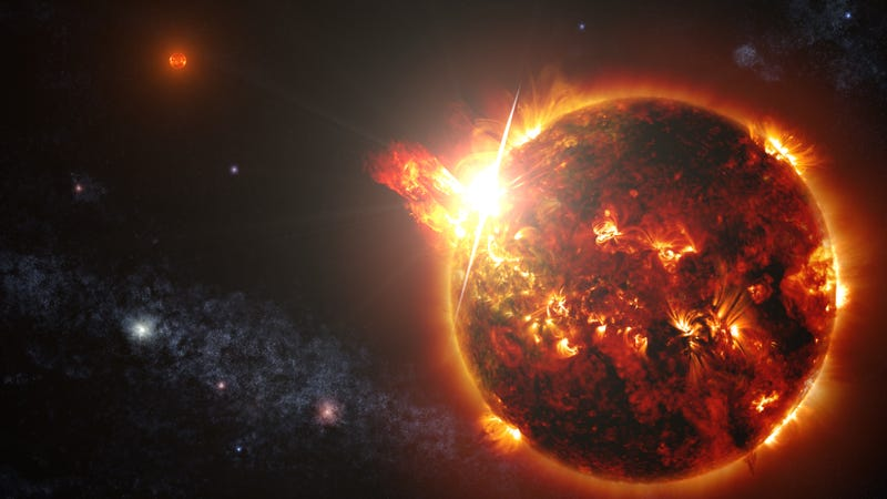 Artist's depiction of a red dwarf sprouting a solar flare. This could very well be the source of what the UPR astronomers detected at Aricebo. (Image: NASA's Goddard Space Flight Center/S. Wiessinger)