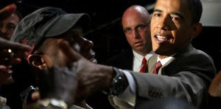 Democratic presidential candidate Barack Obama speaks at the UNITY Convention in 2008. (Scott Olson/Getty Images News)