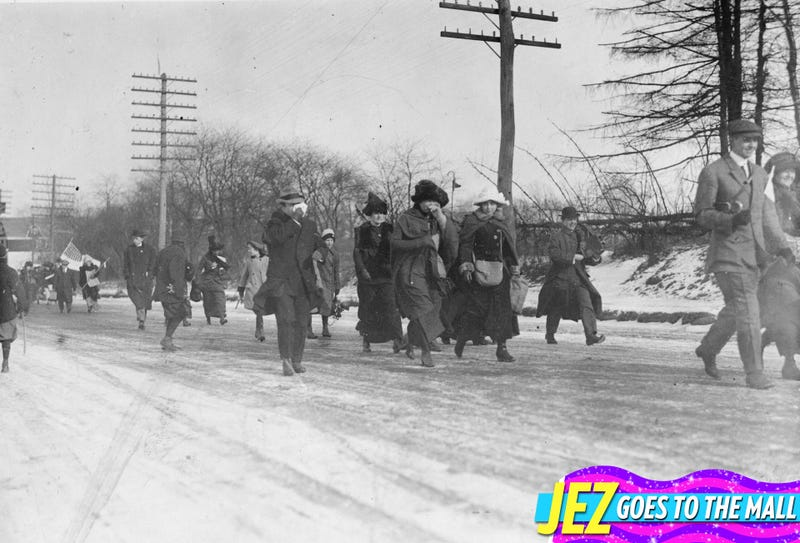 American suffragette marchers on their way from New Jersey to Washington DC at the time of Woodrow Wilson's inauguration in February of 1913. Image via Topical Press Agency/Getty.