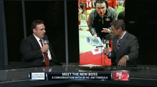 Illustration for article titled New 49ers Coach Jim Tomsula Mumbles And Huffs His Way Through Interview