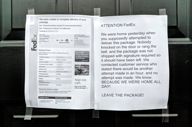 Illustration for article titled My goddamn FedEx driver keeps not delivering packages and claiming I'm not home, when I WORK FROM HOME, so I'm escalating things passive-aggressively (UPDATED)