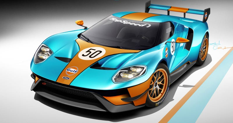Illustration for article titled The New Ford GT Looks Incredibly Badass In Gulf Livery
