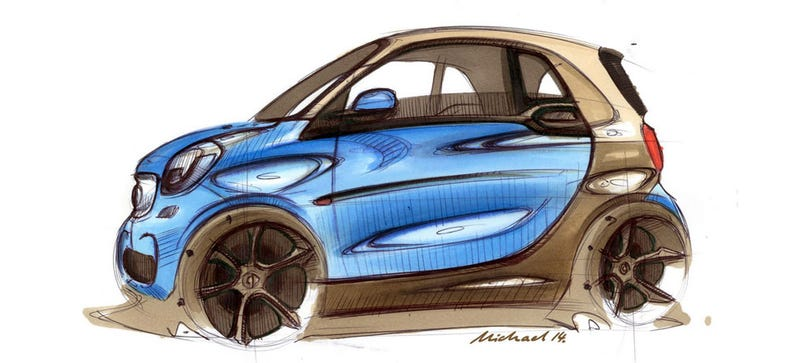 Illustration for article titled New Smart Design Sketches Show The Smart's Grown A Snout