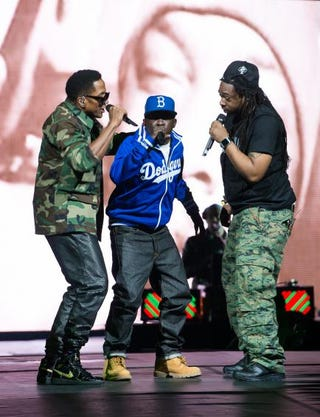 Q-Tip, Phife Dawg and Jarobi White of A Tribe Called Quest perform at Barclays Center in New York City on Nov. 20, 2013.Dave Kotinsky/Getty Images
