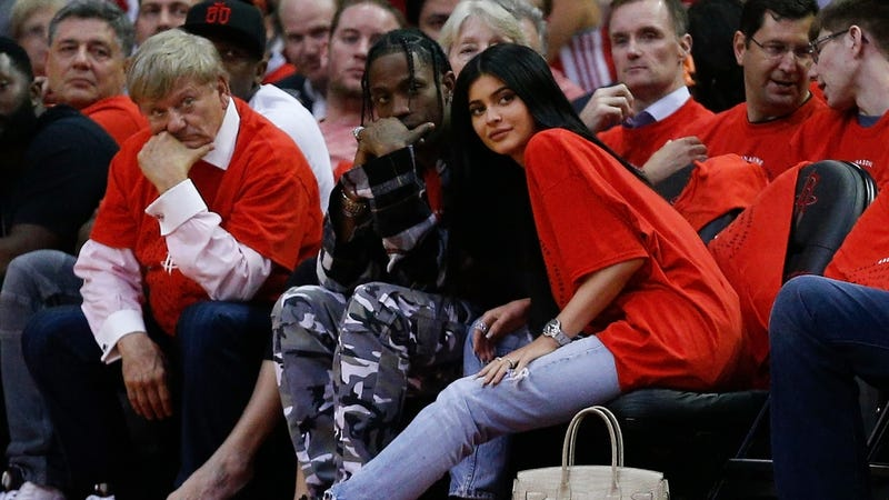 Travis Scott with Kylie Jenner, April 25th. Image via Getty.