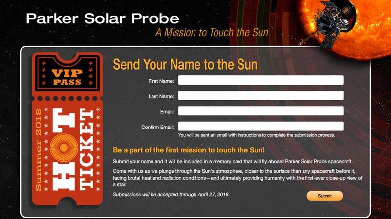Illustration for article titled La NASA abre un formulario para que puedas mandar tu nombre al Sol en una sonda suicida