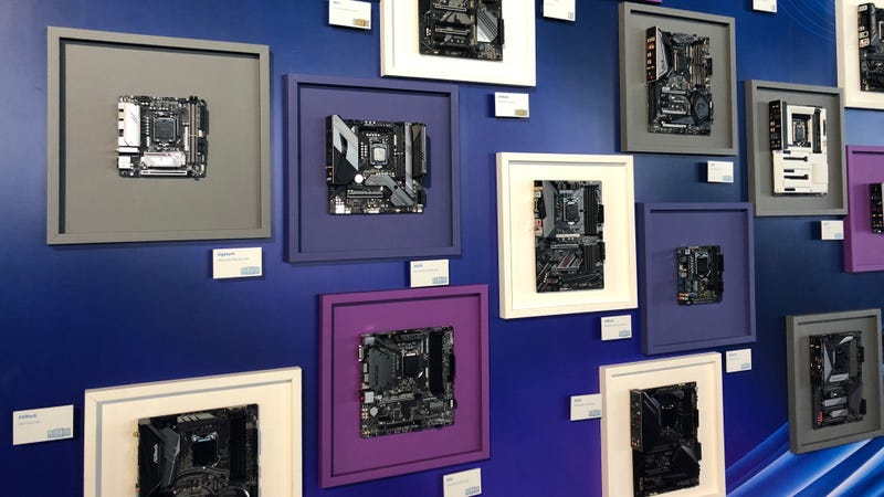 Motherboards on display at Intel's 9th-Gen launch event.