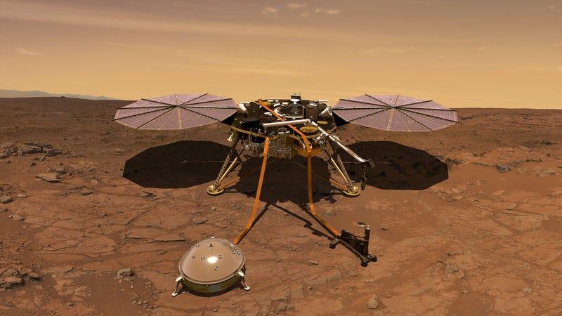 An artist's rendering of InSight lander on Mars.