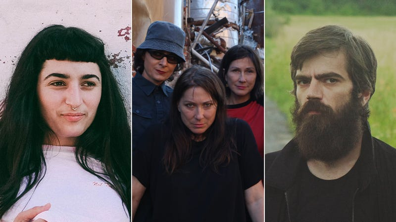 Georgia Maq of Camp Cope (Photo: Naomi Beveridge); Josephine Wiggs, Kim Deal, and Kelley Deal of The Breeders (Photo: Marisa Gesualdi); and Patrick Stickles of Titus Andronicus (Photo: Ray Concepcion)