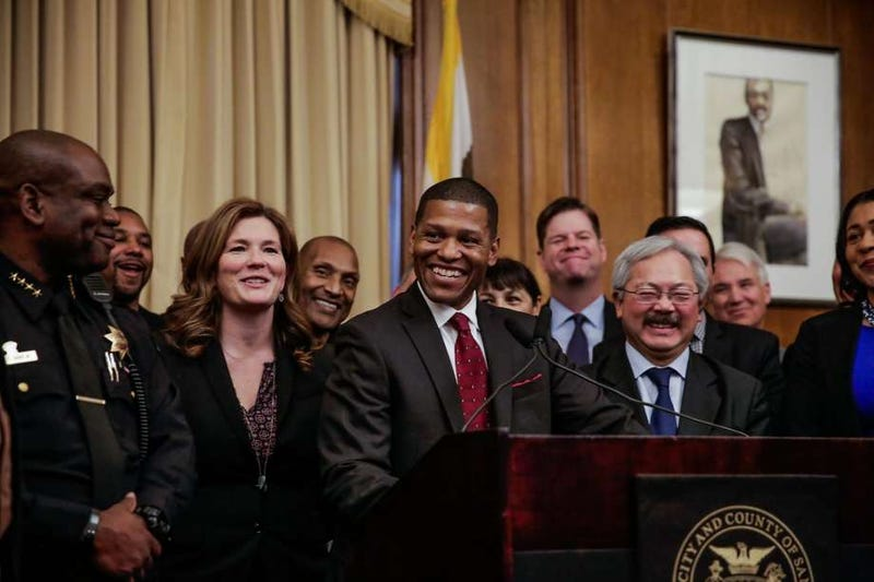 "William ""Bill"" Scott (center), the new chief of the San Francisco Police DepartmentSFGate screenshot"