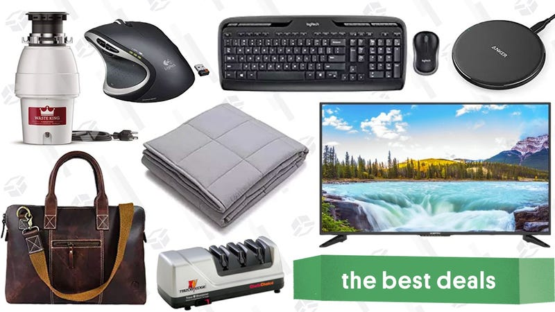 "Illustration for article titled Wednesday's Best Deals: Logitech Sale, $200 50"" TV, Weighted Blanket, and More"