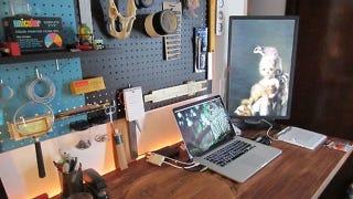 Illustration for article titled The Backlit Pegboard Workspace